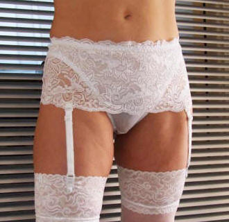 Deep lacey suspender thong