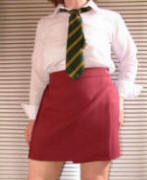 BURGUNDY Wrap over school skirt