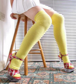 Lemon over knee socks