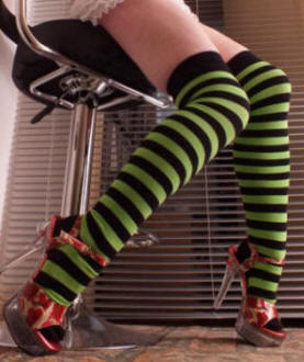 Green and black striped over knee socks