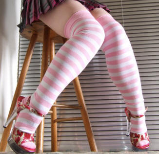 Pink and white lycra striped over knee socks