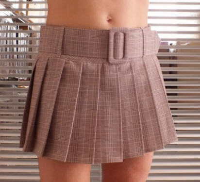 Cotton Candy Tartan mini belt skirt