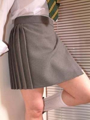 Wrapover school skirts in grey blue and black